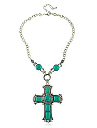 cheap -European Style Turquoise Green Cross Women's Necklace Elegant Style
