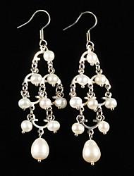 economico -elegante lega argento placcato con orecchini da donna eleganti stile perla