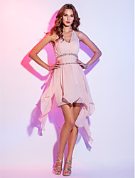 A-Line Halter Short / Mini Chiffon Cocktail Party Homecoming Holiday Dress with Beading Ruching Cascading Ruffles by TS Couture®