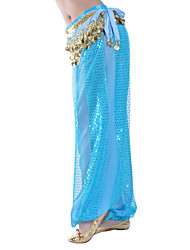 Belly Dance Bottoms Women's Training Chiffon Paillettes 1 Piece Natural Pants