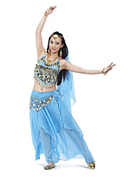 cheap -Belly Dance Outfits Women's Training Chiffon Beading Coins Sequins 4 Pieces Sleeveless Top Skirt Hip Scarf Headpieces