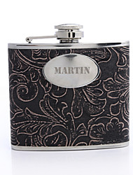 cheap -Personalized Gift Flower Pattern 5oz PU Leather  Flask