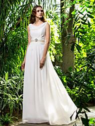 Funda / Columna Capucha Larga Raso Vestido de novia con Cristal Perla Cinta / Lazo Recogido Lateral por LAN TING BRIDE®