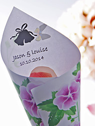"Personalized ""Scene of Spring"" Paper Petal Cones - Set of 12"