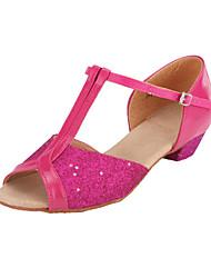 """Women's Kids' Latin Ballroom Sparkling Glitter Heel Buckle Sparkling Glitter Chunky Heel Gold Silver Fuchsia 1"""" - 1 3/4"""" Non Customizable"""