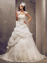 Ball Gown Strapless Sweep / Brush Train Lace Tulle Wedding Dress with Beading Appliques Pick-Up by LAN TING BRIDE®