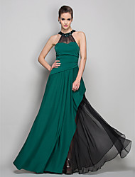 cheap -Sheath / Column Halter Floor Length Chiffon Jersey Formal Evening Military Ball Dress with Crystal Brooch Side Draping by TS Couture®