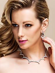 povoljno -sja Češka rhinestones s pozlatom legure vjenčanja nakit set, uključujući i ogrlicu i naušnice