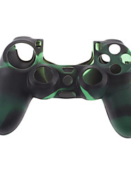 Custodia in Silicone pelle e 2 Grip nero Thumb Stick per PS4 (verde + nero)