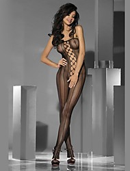 Women's One Piece Packed in a Box Sexy Cut Out Front with Rhinestones Stripped Knitted See Through Nightwear