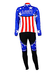 cheap -Kooplus Cycling Jersey with Bib Tights Men's Long Sleeves Bike Clothing Suits Thermal / Warm Fleece Lining Moisture Permeability Wearable