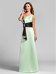 cheap -A-Line One Shoulder Floor Length Satin Bridesmaid Dress with Ruching Crystal Brooch by LAN TING BRIDE®