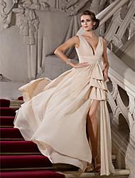 A-line princesa v-neck varredura / broche de trem chiffon vestido de noite com beading by ts couture®