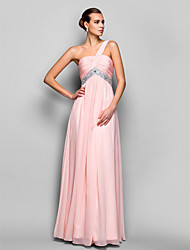 A-Line Princess One Shoulder Floor Length Chiffon Prom Dress with Beading by TS Couture®