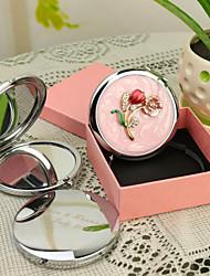 abordables -Cadeau personnalisé Fleur Rose Style Chrome miroir compact