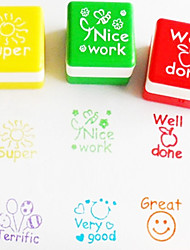 baratos -6 pcs set professor incentivar selo dos desenhos animados bonito inglês super nice trabalho almofada de tinta