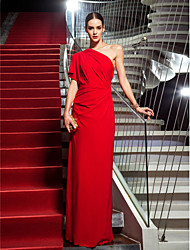 Sheath / Column One Shoulder Floor Length Jersey Formal Evening Military Ball Dress with Side Draping by TS Couture®
