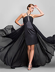 cheap -A-Line Halter Asymmetrical Georgette Formal Evening Military Ball Dress with Crystal Detailing Ruching by TS Couture®