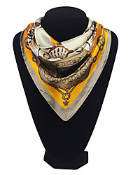Lafusoku Kvinders Square Slik Mustard Tørklæde 110020B