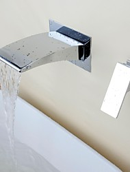 Wall Mounted Waterfall with  Ceramic Valve Two Holes Single Handle Two Holes for  Chrome , Bathroom Sink Faucet