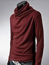 Herren T-shirt-Einfarbig Freizeit / Büro Baumwollmischung Lang-Schwarz / Blau / Braun / Rot / Weiß / Grau