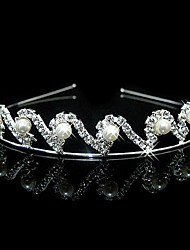 Wedding Bridal Flower Girls Kids Crystal Pearl Hair Band Headband Tiara