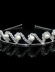Fiore di cerimonia nuziale nuziale Ragazze Bambini cristallo della perla dei capelli della fascia della fascia Tiara