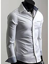 Недорогие -Gezi Мужская хлопок твердых рубашка Цвет длинным рукавом (Random Кнопка Цвет & клетку)