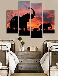 Moderno Padrão Estilo Elephant Relógio de parede em 4 peças de lona