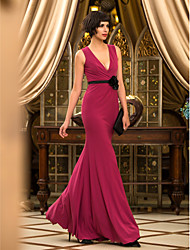 cheap -Mermaid / Trumpet V-neck Floor Length Jersey Prom Formal Evening Military Ball Dress with Flower(s) by TS Couture®