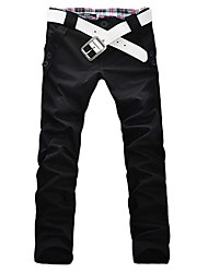 cheap -Men's Low Rise Micro-elastic Slim Chinos Pants,Casual Solid Polyester All Seasons