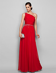 cheap -Sheath / Column One Shoulder Floor Length Chiffon Prom / Formal Evening Dress with Beading / Ruched by TS Couture®