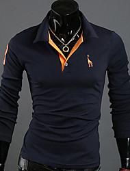 Недорогие -Твердые рубашка Gezi Мужская Цвет Олень Вышивка Поло с длинным рукавом