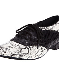 """Men's Modern Ballroom Leatherette Heel Lace-up Low Heel Black and White Under 1"""" 3"""" - 3 3/4"""" Non Customizable"""