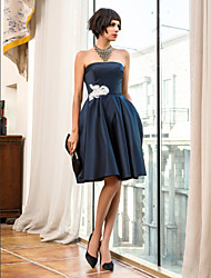 A-Line Strapless Knee Length Satin Cocktail Party Homecoming Holiday Dress with Appliques by TS Couture®