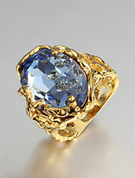 cheap -Women's Statement Ring / Engagement Ring - Cubic Zirconia, Gold Plated, 18K Gold Love Luxury 6 / 7 / 8 Blue For Wedding / Party / Gift