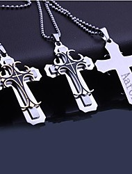 cheap -Personalized Gift  Men's Stainless Steel Three Layer  Cross Shaped  Engraved Pendant Necklace with 60cm Chain