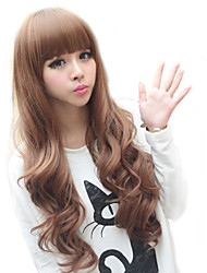High Quality Synthetic Full Bangs Capless Long Curly Hair Wig(Light Golden Brown)