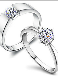 cheap -MISSING U Copper / Rhinestone / Silver Plated / Platinum Plated Ring Couple Rings Daily Single 1pc Promis rings for couples