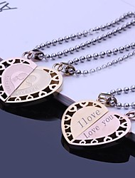 cheap -Personalized Gift Couples Stainless Steel Jewelry Engraved Pendant Lovers Necklace with  60cm Chain