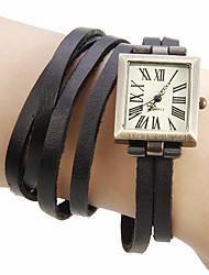 abordables -Mujer Reloj de Pulsera Japonés Cuero Auténtico Banda Bohemio / Moda Negro / Verde / Caqui
