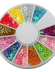 12-cavité de couleur mixte forme affectueuse de coeur d'étoile Décorations Nail Art