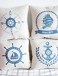 Cotone/Lino Copricuscino , Navy Motivo/Decorazione