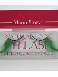 1 Pair Pro High Quality Hand Made Green Color Feather False Eyelashes