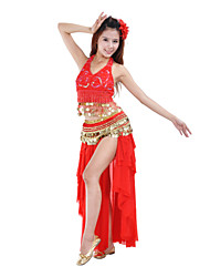 cheap -Belly Dance Skirts Women's Performance Training Polyester Draped Tiers 1 Piece Natural Skirt
