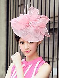 Недорогие -лен и тюль свадьбы / особому случаю / случайные шляпы с бантом (больше цветов)