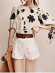 Women's Casual/Daily Simple All Seasons Blouse,Floral ¾ Sleeve Beige Opaque / Thin