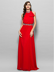 A-Line High Neck Floor Length Chiffon Prom Formal Evening Military Ball Dress with Beading Bow(s) Side Draping by TS Couture®