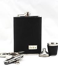 economico -incisione personalizzata pelle nera 9-oz 5 pezzo Gift Set