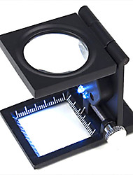 cheap -10X Metal Folding Pocket Jewelry Loupe Magnifier Magnifying Glass with Scale and LED